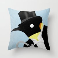 penguin Throw Pillows featuring Penguin by Chase Kunz