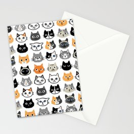 Cute Cats | Assorted Kitty Cat Faces | Fun Feline Drawings Stationery Cards