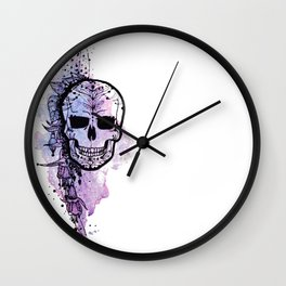 New Skull & Flowers Wall Clock