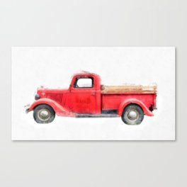 Old Red Pickup Truck Canvas Print