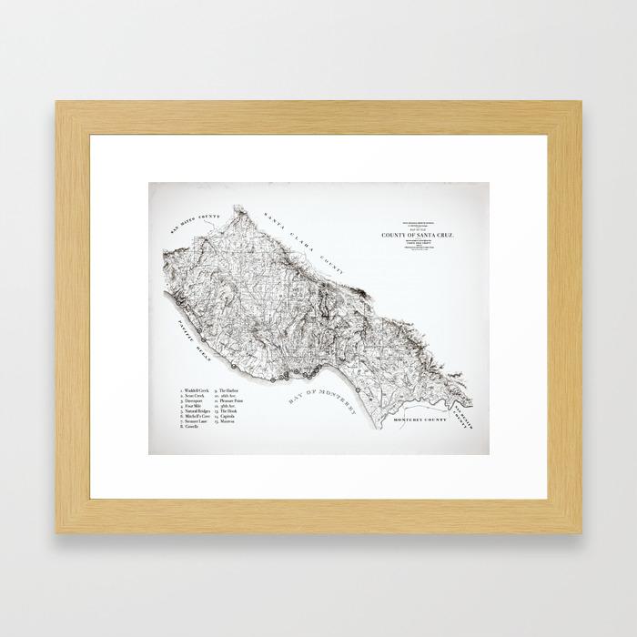 Santa Cruz Surf Map, 1938 Map featuring all the best surf spots! Surf Art &  Home Decor Framed Art Print