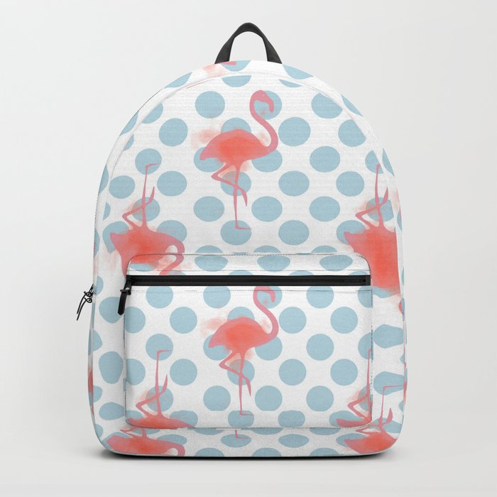 Flamingo on polka dots blue Backpack