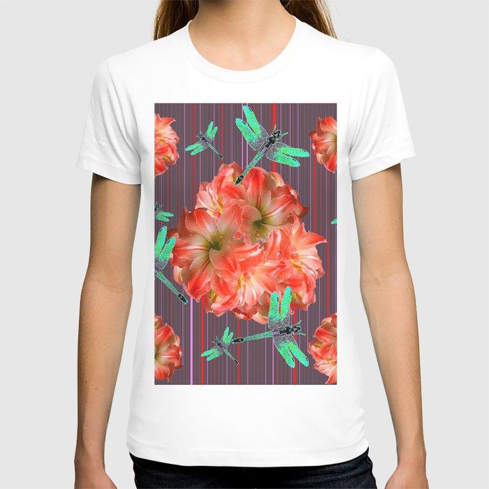 Green Dragonflies Pink Flower Ball Art T-shirt