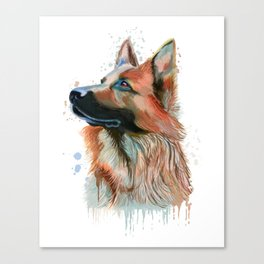 German Shepherd Watercolor, German Shepherd Painting, German Shepherd Canvas Print