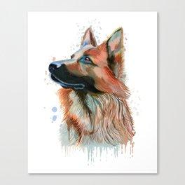 German Shepherd Watercolor, German Shepherd Painting, German Shepherd Canvas Print
