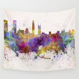 Shenzhen skyline in watercolor background Wall Tapestry