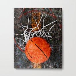 Basketball art hoop and net Metal Print