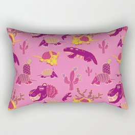 Desert Animals in Pink with Yellow Armadillo Rectangular Pillow