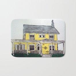 yellow house reduction linocut print Bath Mat