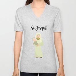 Saint Joseph and Baby Jesus Unisex V-Neck