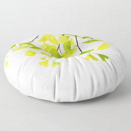 Ginkgo Branches Watercolor  Floor Pillow