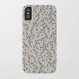 Blue & White Berry Branches iPhone Case