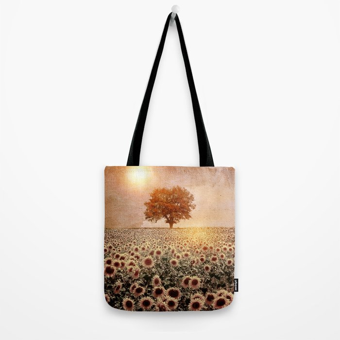 lone tree & sunflowers field (colour option) Tote Bag