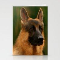 german shepherd Stationery Cards featuring German Shepherd  by Becky's Digital Art