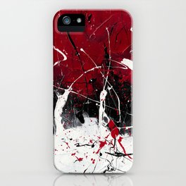 Groove In The Fire - Black and red abstract splash painting by Rasko iPhone Case