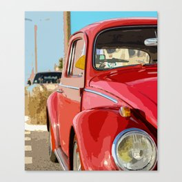Classic Retro Red Car Canvas Print