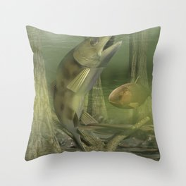 Backyard Fishing Throw Pillow