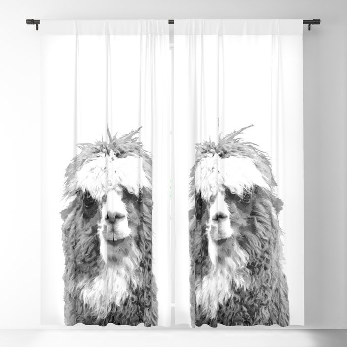 Black and White Alpaca Blackout Curtain