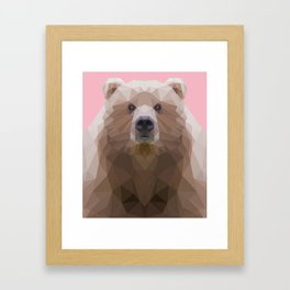 Low poly bear on pink background Framed Art Print