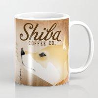 shiba inu Mugs featuring Shiba Inu Coffee Company dog artwork by Stephen Fowler by gemini studio art by Stephen Fowler