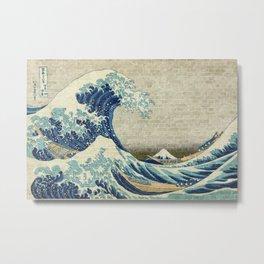 Brick Wall Painting Japanese Great Wave off Kanagawa - Urban Artist Metal Print