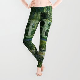 Water Lilies and Japanese Footbridge, Claude Monet Leggings