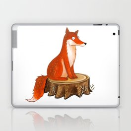 Silly Cute Fox, foxy, illustration, watercolor, wood, adorable, children, kid, decoratin Laptop & iPad Skin