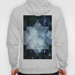 Galaxy Sacred Geometry Rhombic Hexecontahedron Blue Hoody