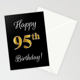 """Elegant """"Happy 95th Birthday!"""" With Faux/Imitation Gold-Inspired Color Pattern Number (on Black) Stationery Cards"""