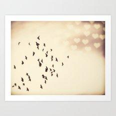 Flying to Love Art Print