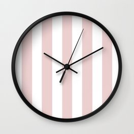 Lotion pink - solid color - white vertical lines pattern Wall Clock