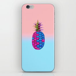 Pineapple Pink Blue iPhone Skin