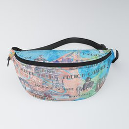 New Orleans Louisiana Illustrated Map with Main Roads Landmarks and Highlights Fanny Pack