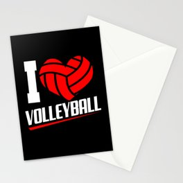 Volleyball Love Heart Ball Sports Team Set Players Stationery Cards