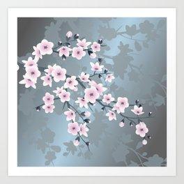 Dusky Pink Grayish Blue Cherry Blossom Kunstdrucke