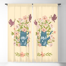 Happy Birds Making Things Beautiful Together Blackout Curtain