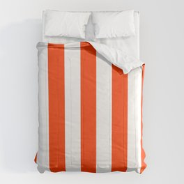 Coquelicot orange - solid color - white vertical lines pattern Comforters