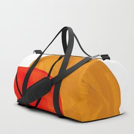 Mid Century Modern Abstract Vintage Pop Art Space Age Pattern Orange Yellow Black Orbit Accent Duffle Bag