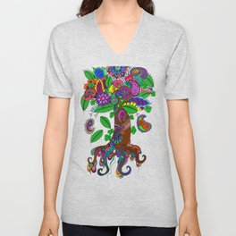 Psychedelic Paisley Tree - on Black Background Unisex V-Neck