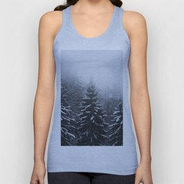 Fog over snow covered spruce forest in winter Unisex Tank Top