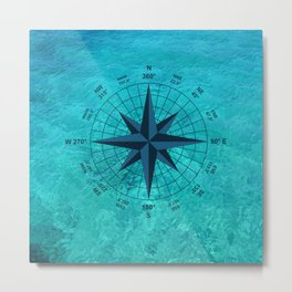 Compass on Turquoise Water Metal Print