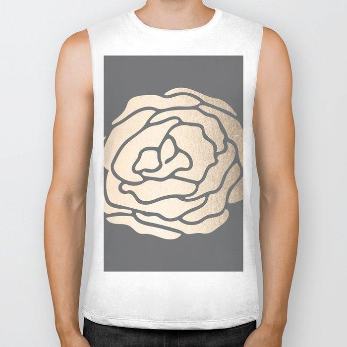 Rose in White Gold Sands on Storm Gray Biker Tank