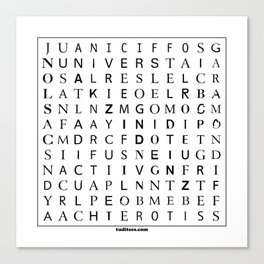 Typographic word search puzzle Canvas Print