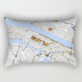 New York City Map United States Mondrian color Rectangular Pillow