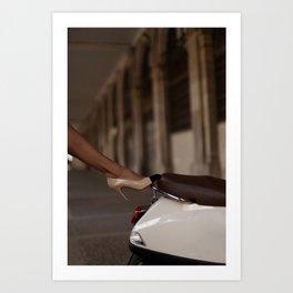 a vintage vespa, a vintage heel Art Print