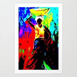 African Lady Carrying Fruit, Abstract Print Art Print