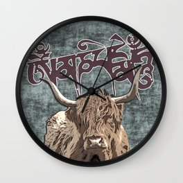 Tibetan Yak with Mani Mantra(six-syllabled Sanskrit mantra: OM MANI PADME HUM ) Wall Clock