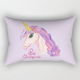 Girly Watercolor Unicorns Be Unique Typography Rectangular Pillow