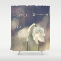 fairies Shower Curtains featuring Fairies this way by UtArt