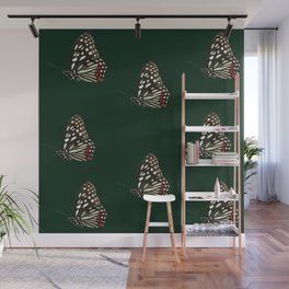 Forest Green Butterfly Pattern Print Wall Mural